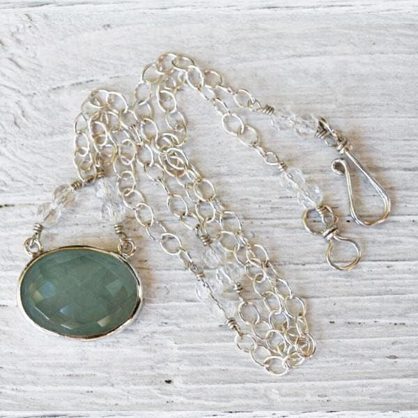 Faceted Silver Peridot Necklace