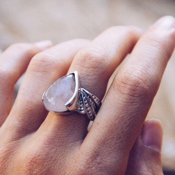 Winged Ring :: rose quartz