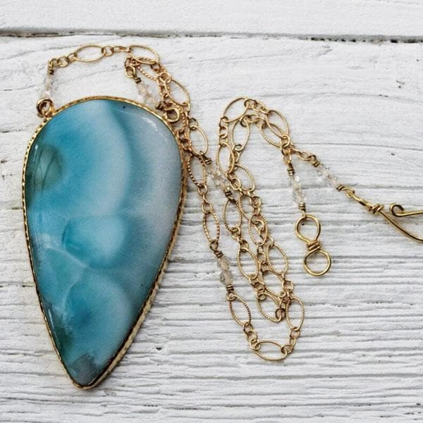 Grand Gold Larimar Necklace