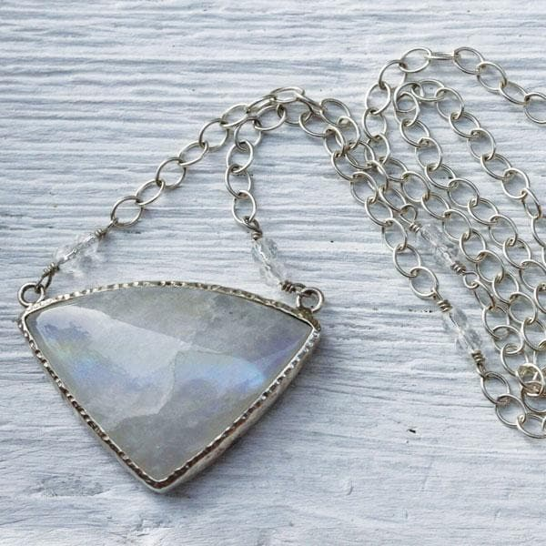 Silver Rainbow Moonstone Necklace
