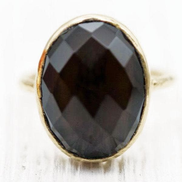 Smoky Quartz Faceted Elfin Ring :: Gold