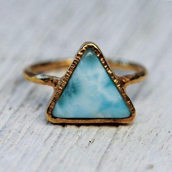 Gold Larimar Pyramid Ring