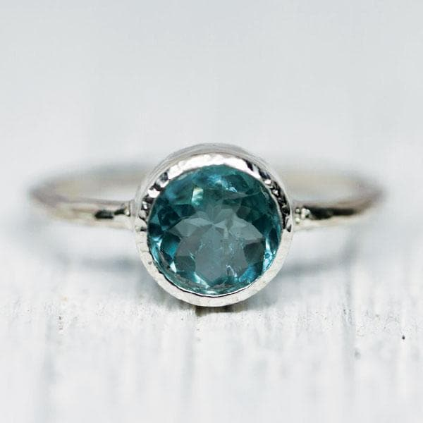Silver Gem Aquamarine Ring