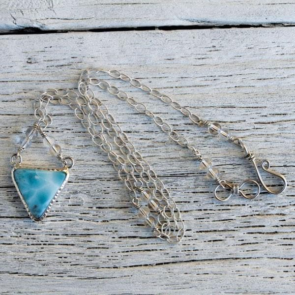 Silver Larimar Pyramid Necklace