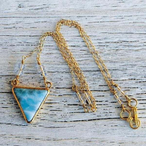 Gold Larimar Pyramid Necklace