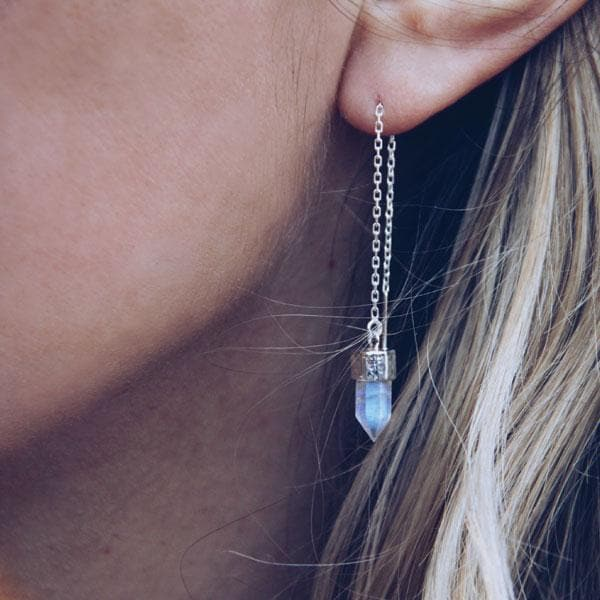 Moonstone Threader Earrings :: See more colors