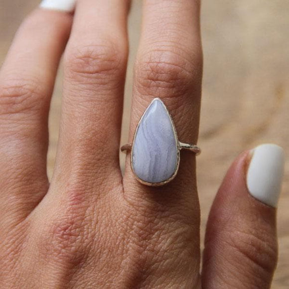 Blue Lace Agate Elfin Ring