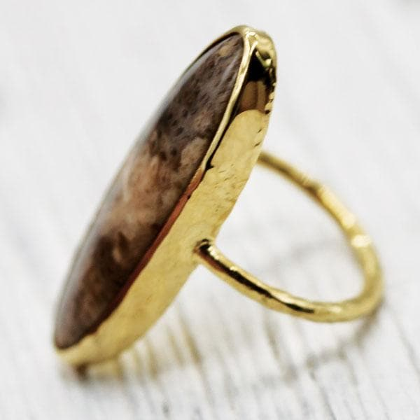 Petrified Palm Wood Elfin Ring