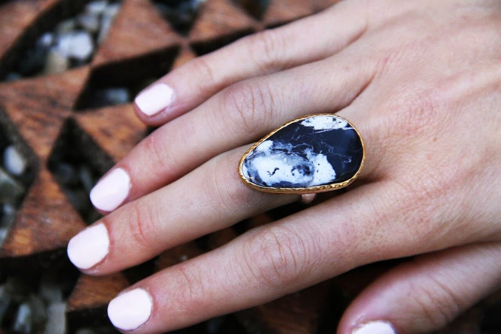 Silver & Gold White Buffalo Turquoise Ring