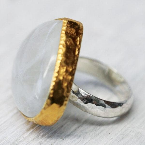 Gold & Silver Rainbow Moonstone Ring