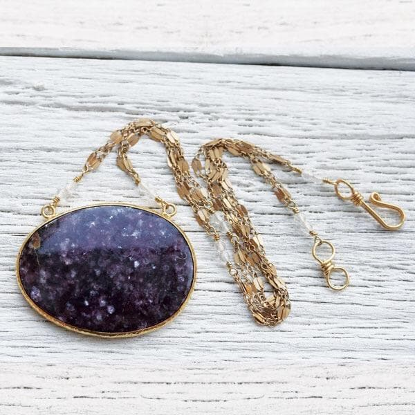 Gold Lepidolite Necklace