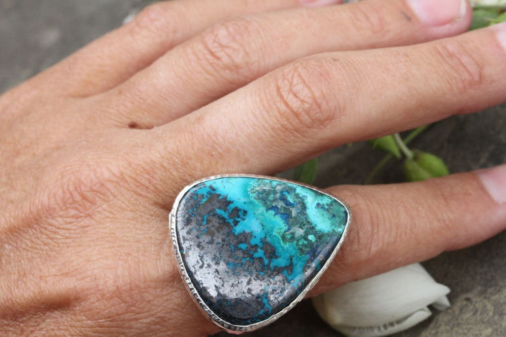 Grand Silver Shattuckite Ring