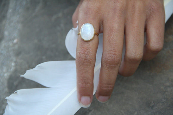 Gold Faceted Moonstone Ring
