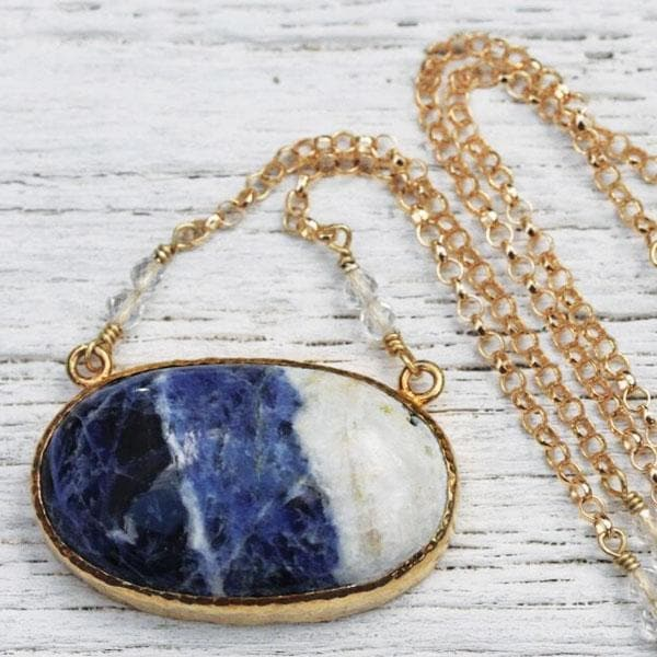 Gold Sodalite Necklace