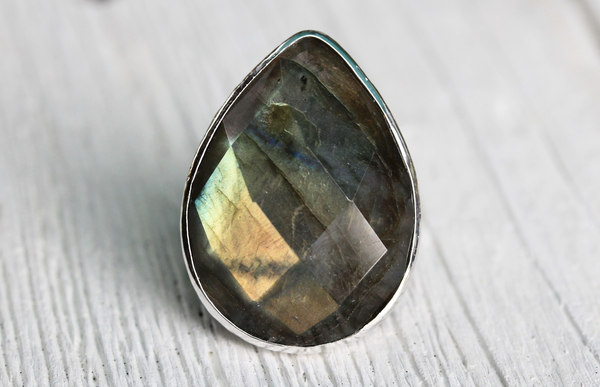 Silver Faceted Labradorite Tear Ring