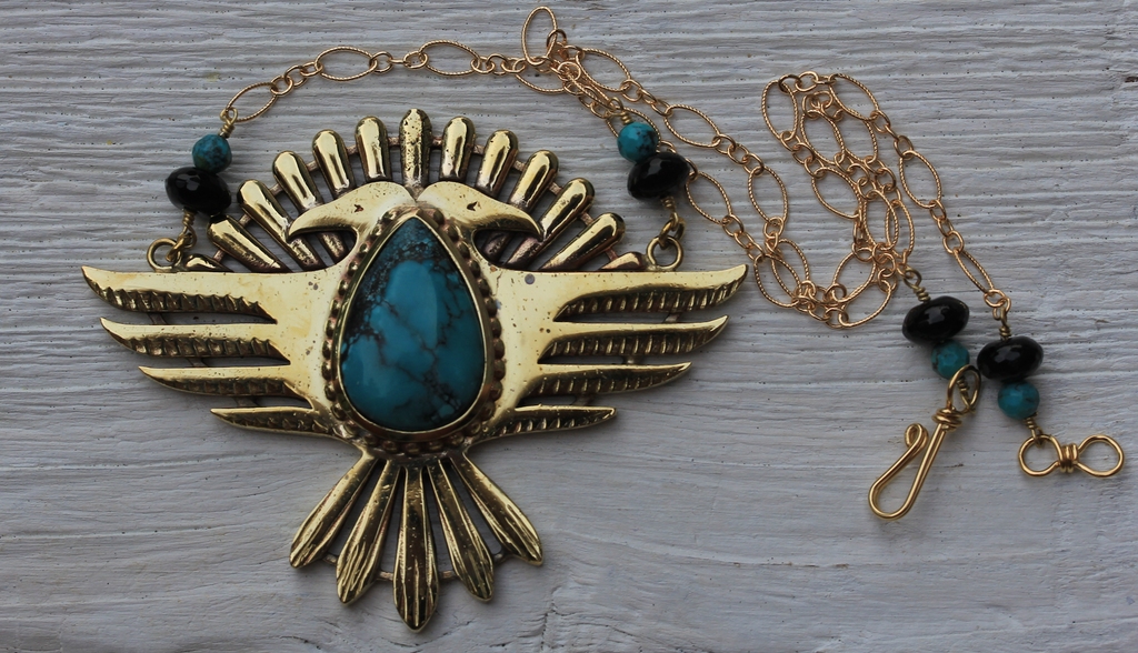 Solar Thunderbird Shield Necklace