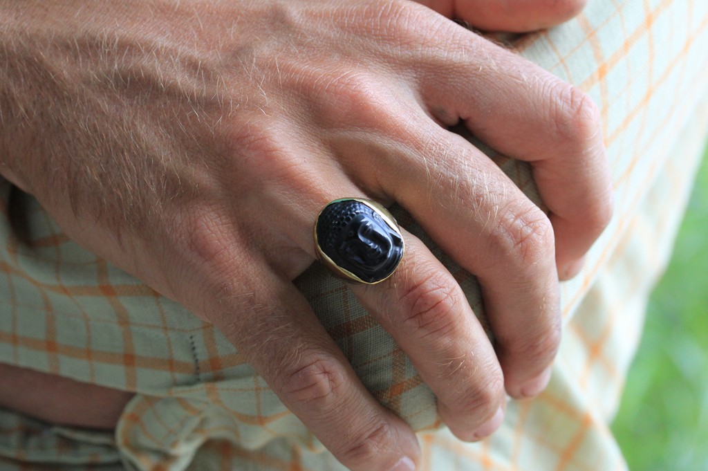 Men's Obsidian Buddha Ring