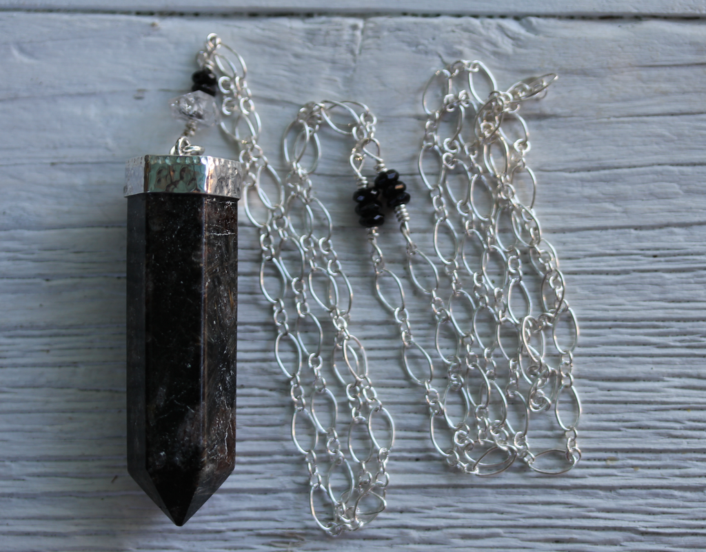 Arfvedsonite Wand Necklace