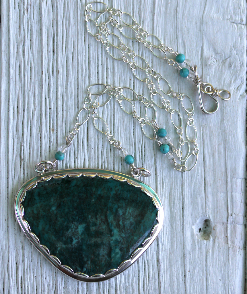 Lotus Necklace :: Silver & Turquoise