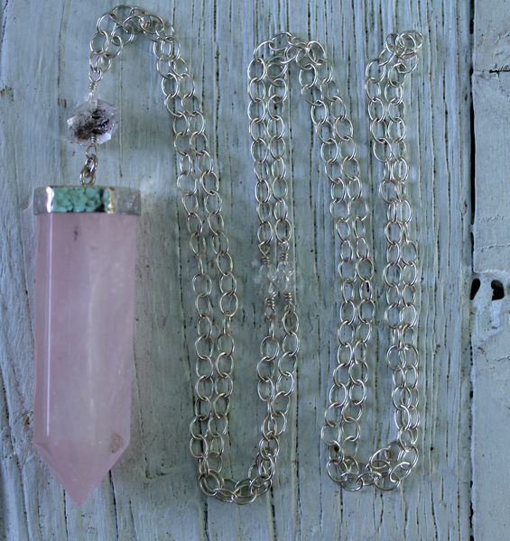 Rose Quartz Wand Necklace