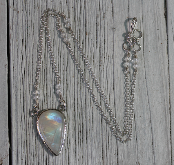 Cosmic Moonstone Tear Necklace