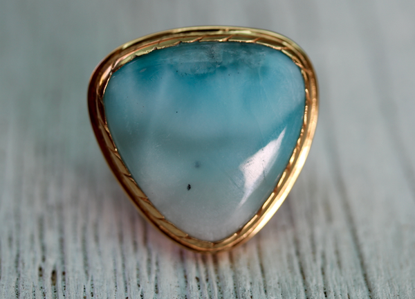 Ancient Wave Ring :: Gold/Silver & Larimar
