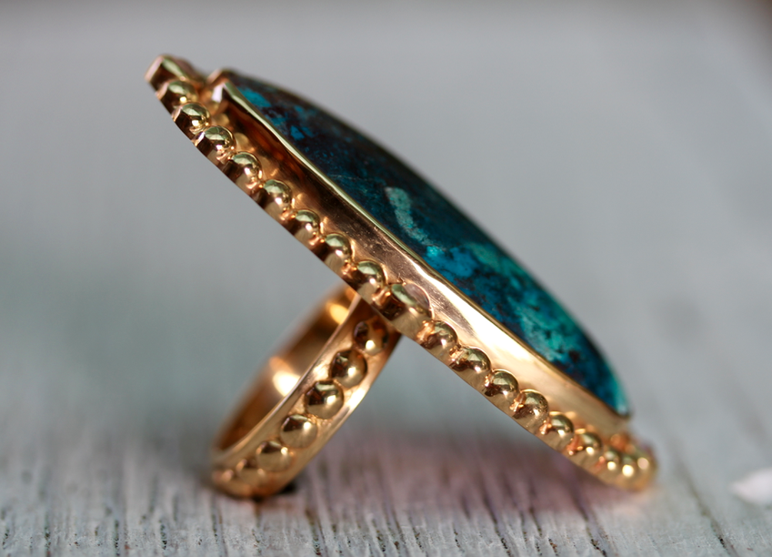 Cycle Ring :: Gold & Chrysocolla