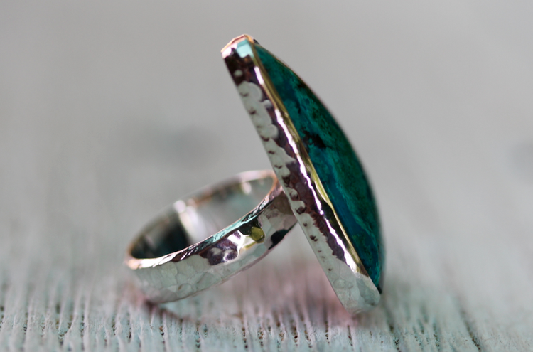 Silver Chrysocolla  Ring