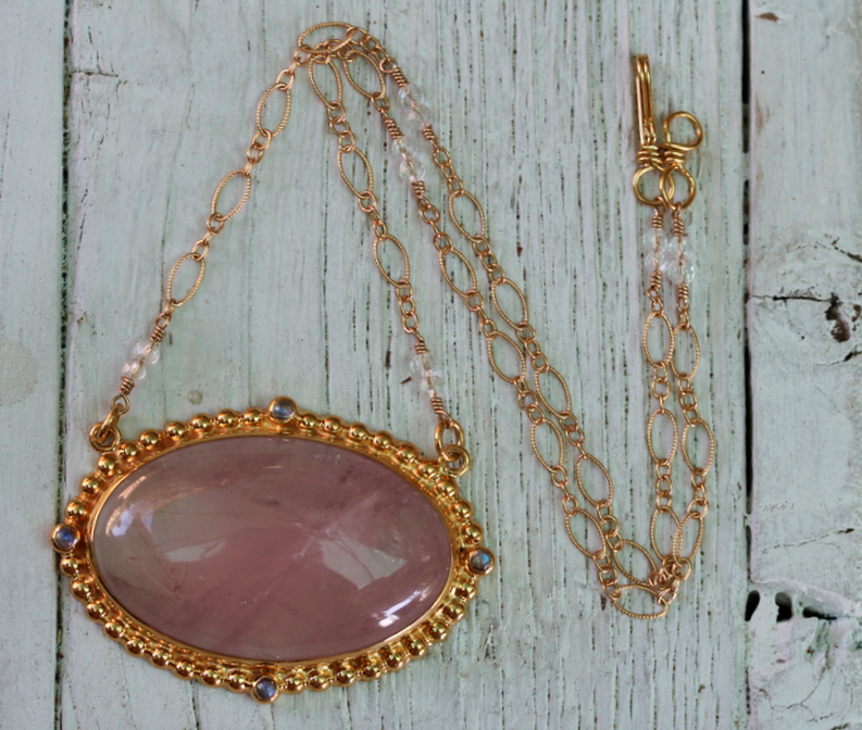 Cycle Necklace :: Gold & Rose Quartz