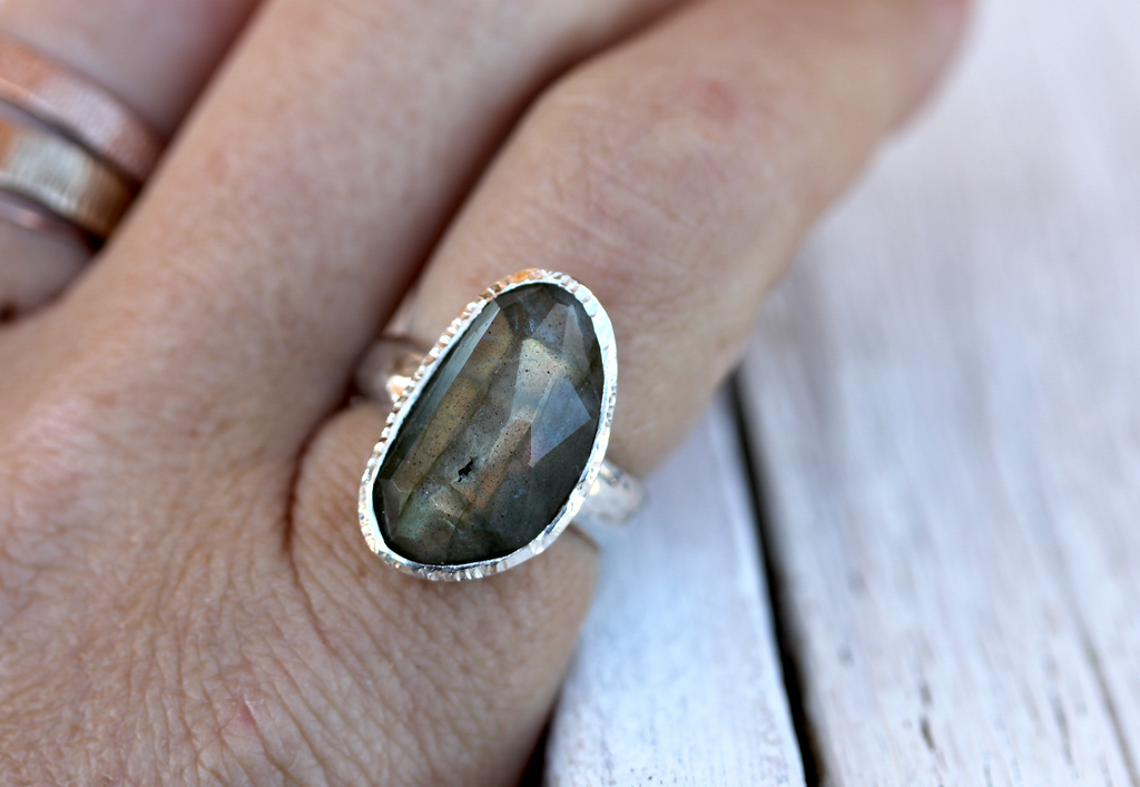 Faceted Silver Labradorite Ring
