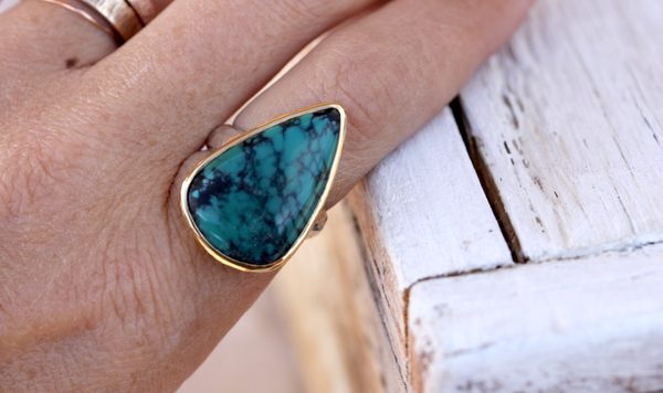 Gold & Silver Turquoise Ring