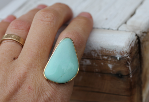 Gold & Silver Chrysoprase Ring -reserved!