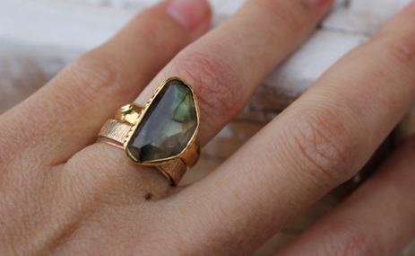 Gold Faceted Labradorite Ring