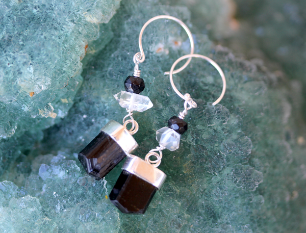 Tourmaline & Herkimer Earrings