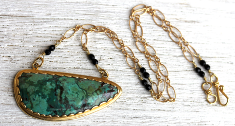 Lotus Necklace :: Gold and Chrysocolla