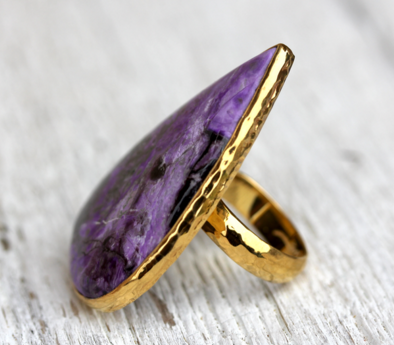 Gold Sugilite Tear Ring
