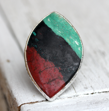 Silver Sonoran Chrysocolla Ring