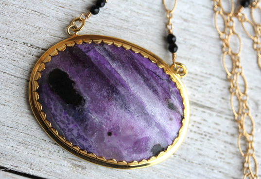 Lotus Necklace :: Gold & Sugilite