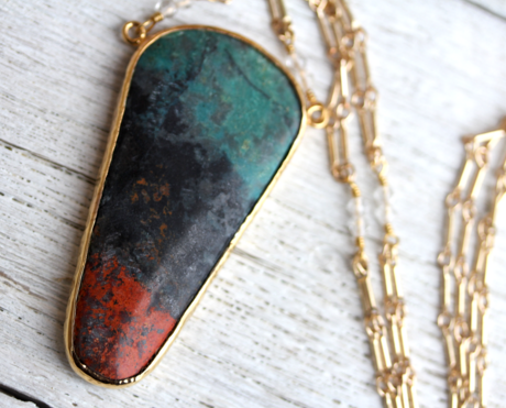 Gold Sonoran Chrysocolla Necklace -RESERVED FOR BRIEANNA!