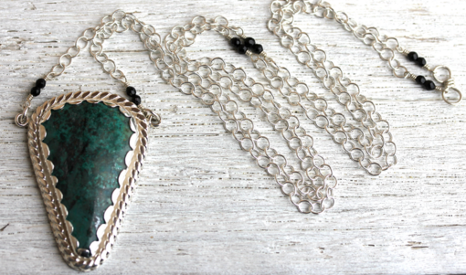 Lotus Necklace :: Silver and Chrysocolla