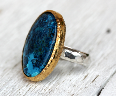 Silver & Gold Chrysocolla Ring