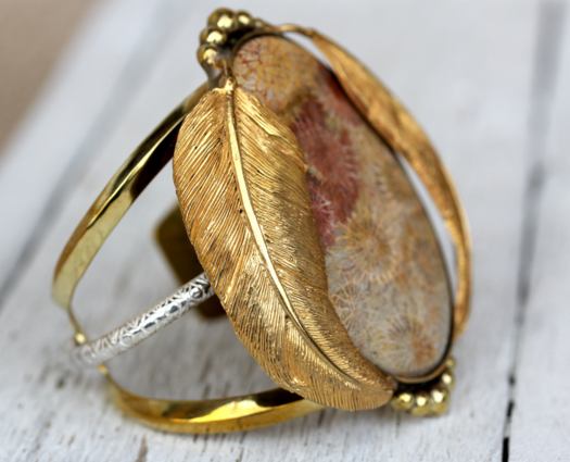 Gold Fossil Coral Kinship Cuff