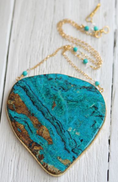 Chrysocolla Shield Necklace