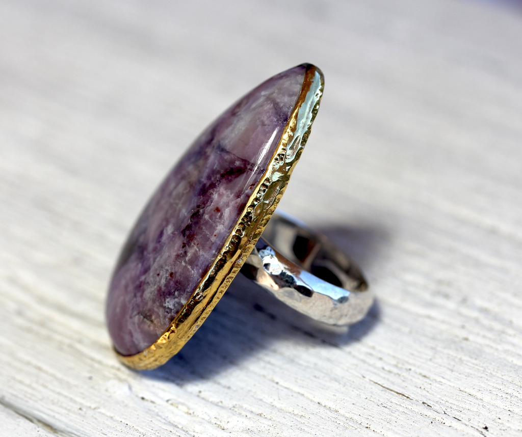 GRAND Silver & Gold Sugilite Ring