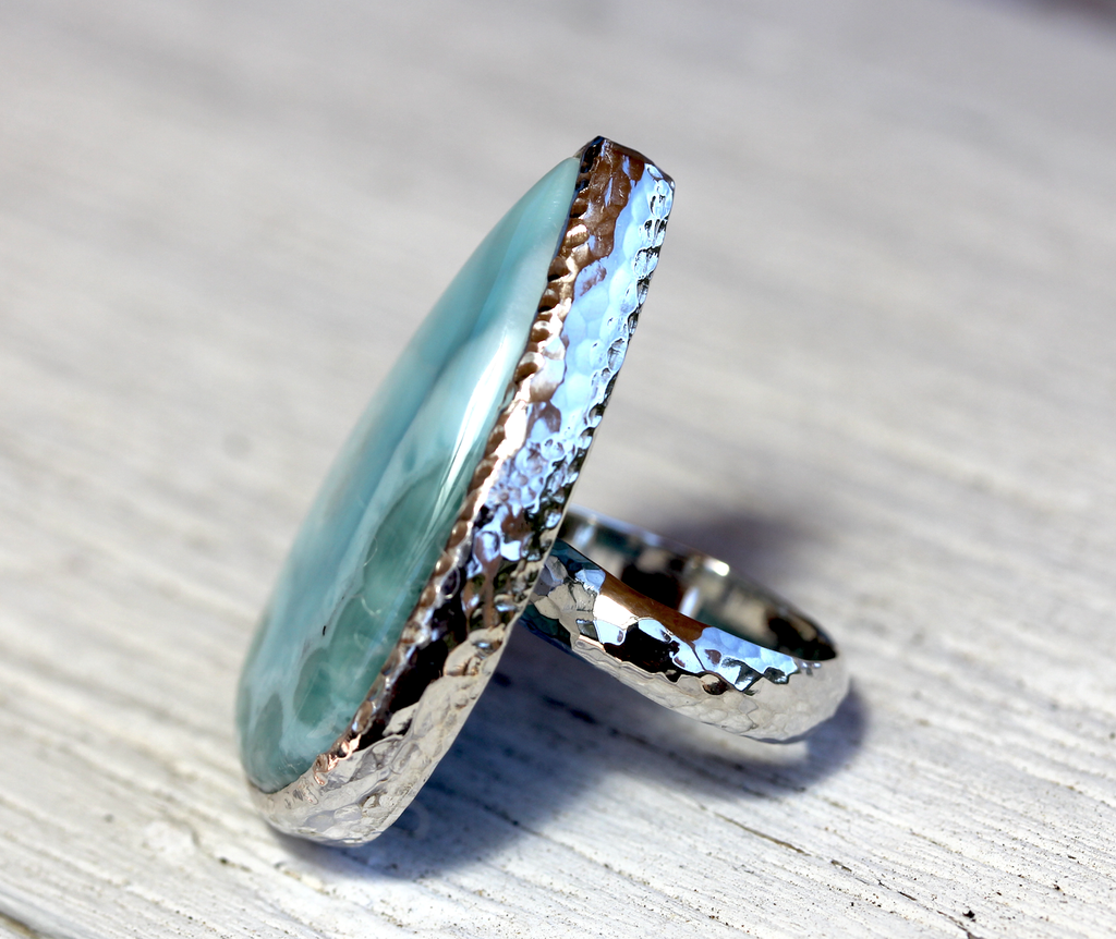 GRAND Silver Larimar Ring