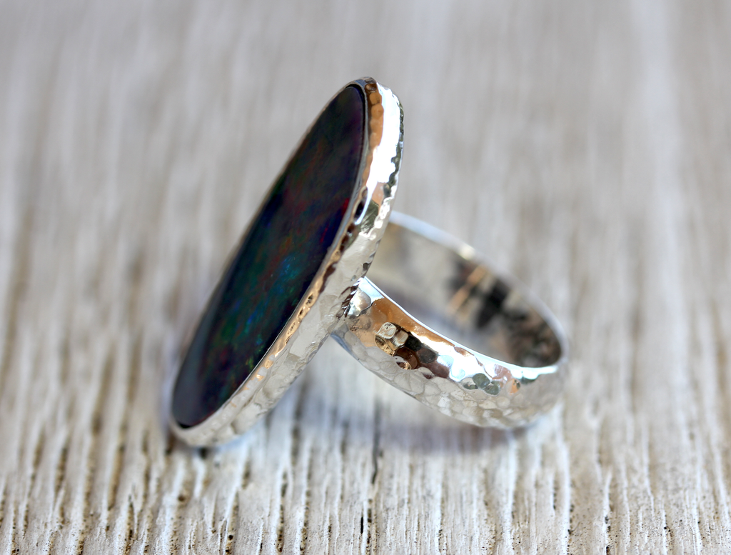 Silver Blue Opal Ring
