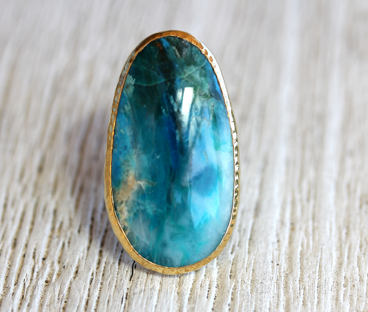 Gold and Silver Peruvian Blue Opal Ring