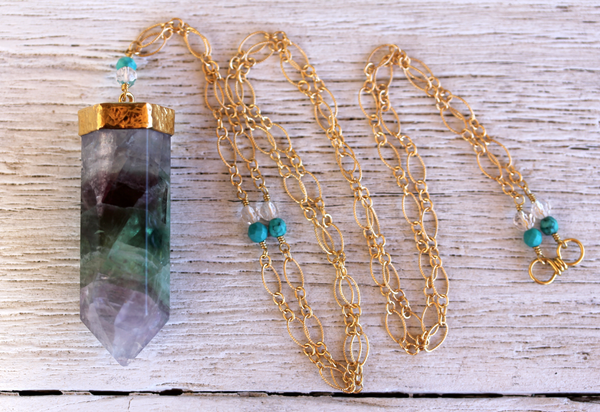 Gold Fluorite Wand Necklace