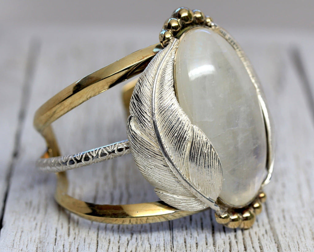 Silver Wings Moonstone Kinship Cuff