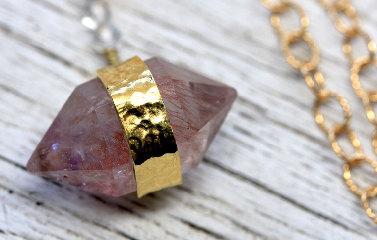 Rutilated Rose Quartz Necklace